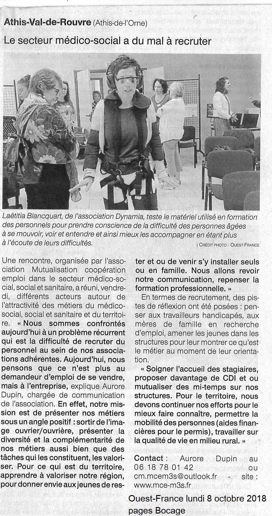 Article Ouest-France 8 octobre 2018